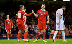 CARDIFF, WALES - Thursday, October 11, 2018: Wales' Sam Vokes celebrates scoring a consolation goal during the International Friendly match between Wales and Spain at the Principality Stadium. Spain won 4-1. (Pic by Laura Malkin/Propaganda)