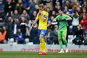Disappointed  Leeds United defender Liam Cooper (6) at full time during the EFL Sky Bet Championship match between Birmingham City and Leeds United at St Andrews, Birmingham, England on 6 April 2019.