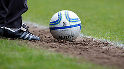 BURY, ENGLAND - Saturday, March 31, 2012: A Mitre official match football at the pitch during the Football League One match between Bury and Tranmere Rovers at Gigg Lane. (Pic by Vegard Grott/Propaganda)