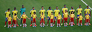 The Ecuador starting lineup during the 2014 FIFA World Cup Group E match at Maracana Stadium, Rio de Janeiro<br /> Picture by Andrew Tobin/Focus Images Ltd +44 7710 761829<br /> 25/06/2014