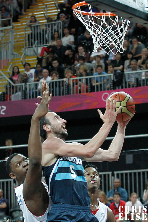31 July 2012: Argentina Manu Ginobilo goes for the layup during 71-64 Team France victory over Team Argentina, during the men's basketball preliminary, at the Basketball Arena, in London, Great Britain.