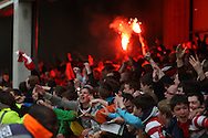 Picture by David Horn/Focus Images Ltd +44 7545 970036.27/04/2013.Doncaster Rovers cel;ebrate as they take the lead during the npower League 1 match at Griffin Park, London.
