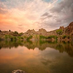 Ayer Lake in Boyce Thompson Arboretum, Sunset