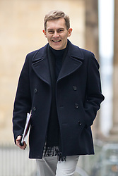 © Licensed to London News Pictures. 15/04/2018. London, UK. Executive Director of Strategy and Communications for the Labour Party Seumas Milne arriving at BBC Broadcasting House to appear on The Andrew Marr Show this morning. In the early hours of yesterday (Saturday) morning, British Prime Minister Theresa May ordered UK forces to join the US and France in targeted air strikes on a military base near Homs, Syria, believed to be a chemical weapons facility. Jeremy Corbyn disagrees with the lack of parliamentary discussion preceding the decision. Photo credit : Tom Nicholson/LNP
