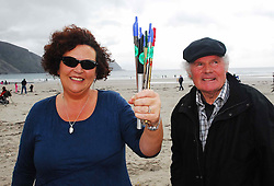 With tin Whistles in hand Dr Kate Sweeney (Mayo VEC) and Michael John Cafferkey Craumpaun Hill, Achill pictured on Keel beach Achill where the Tin Whistle world record attempt took place..Pic Conor McKeown