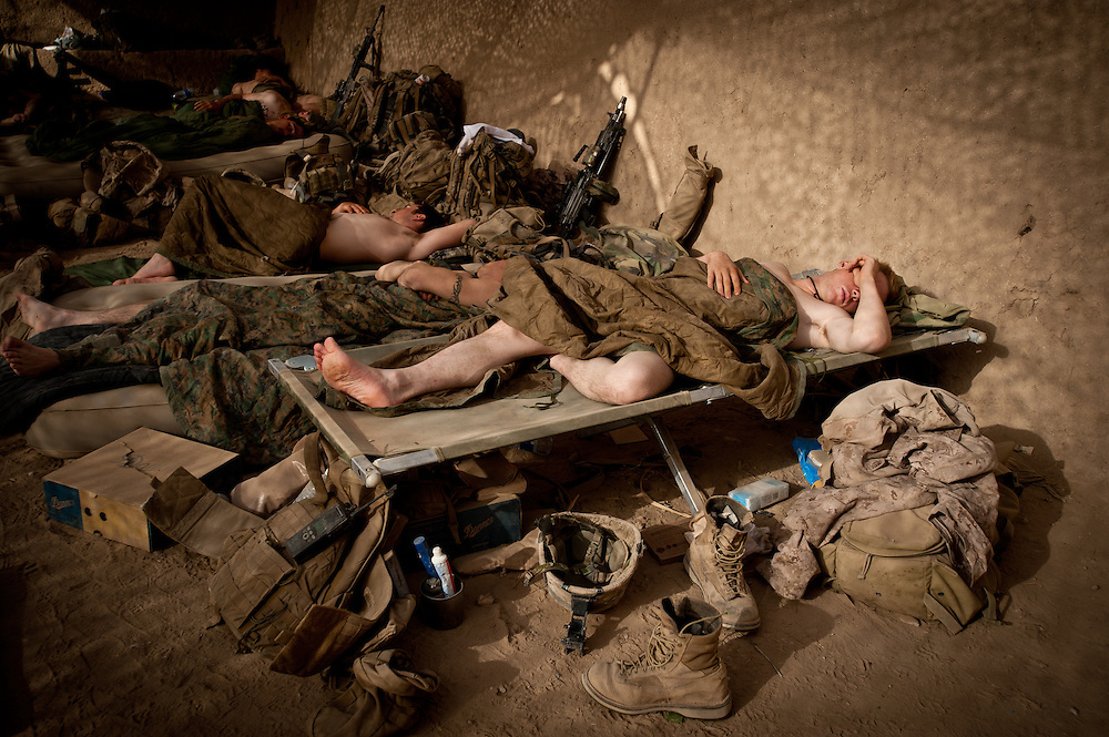 Marines asleep at dawn at Patrol Base McElhinney.