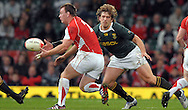 Photo © TOM DWYER / SECONDS LEFT IMAGES 2010 - Rugby Union - Invesco Perpetual Series - Wales v South Africa - 13/11/10 - South Africa's Francois Steyn. (R) tries to stop Matthew Rees delivering a pass - at Millennium Stadium Cardiff Wales UK -  All rights reserved