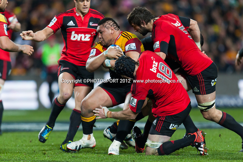 Chiefs' Ben Tameifuna charges during the Super Rugby Semi Final won by the Chiefs (20-17) against the Crusaders at Waikato Stadium, Hamilton, New Zealand, Friday 27 July 2012. Photo: Stephen Barker/Photosport.co.nz