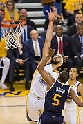 Golden State Warriors center JaVale McGee (1) tries to get his fingertips on a layup by Utah Jazz guard Rodney Hood (5) during Game 2 of the Western Conference Semifinals at Oracle Arena in Oakland, Calif., on May 4, 2017. (Stan Olszewski/Special to S.F. Examiner)