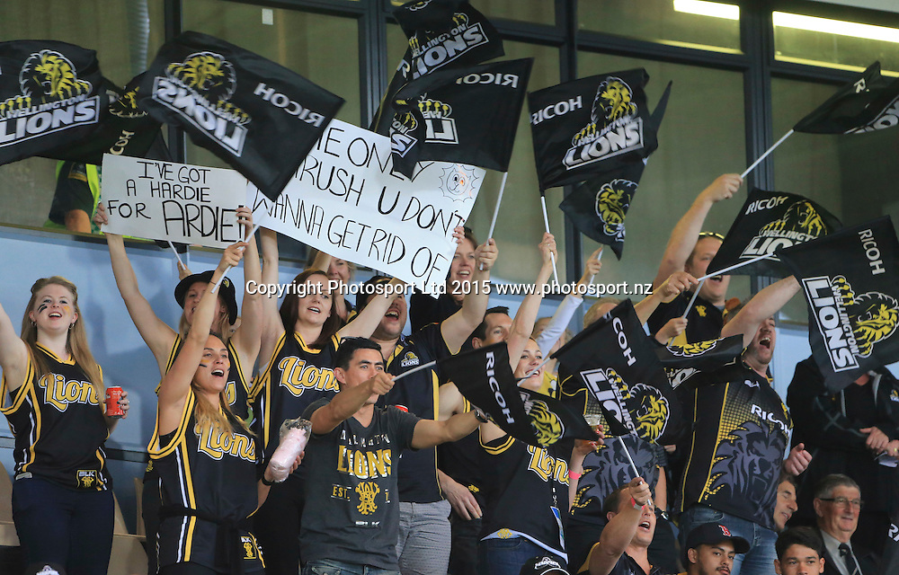 Wellington fans. Hawkes Bay v Wellington, ITM Cup Championship Final, McLean Park, Napier, New Zealand. Friday 23 October, 2015. Copyright photo: John Cowpland / www.photosport.nz