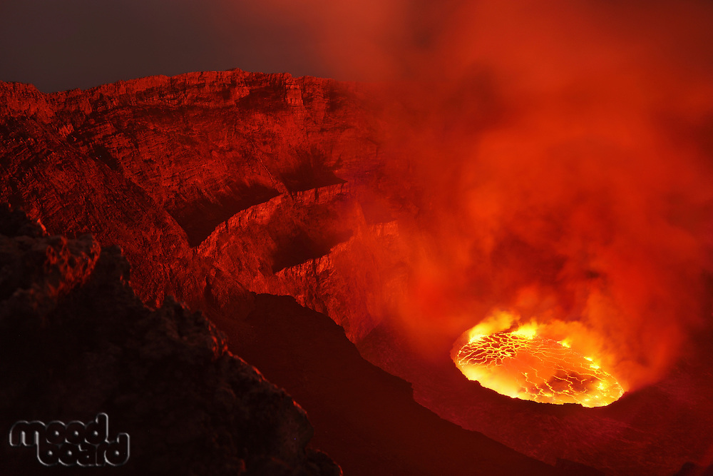 Nyiragongo Volcano  Crater with Lava Lake  Congo