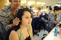 """An actress gets the finishing touches on her hair. The Western Stage's production of """"Zoot Suit,"""" by Luis Valdez, is opening Saturday, September 7, 2013 at Hartnell College and will run until September 28th."""