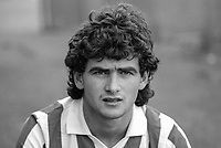 George Higgins, footballer, Derry City FC, N Ireland, 19850807GH.<br /> <br /> Copyright Image from Victor Patterson, 54 Dorchester Park, Belfast, UK, BT9 6RJ<br /> <br /> t1: +44 28 9066 1296 (from Rep of Ireland 048 9066 1296)<br /> t2: +44 28 9002 2446 (from Rep of Ireland 048 9002 2446)<br /> m: +44 7802 353836<br /> <br /> victorpattersonbelfast@gmail.com<br /> victorpatterson@me.com<br /> <br /> www.victorpatterson.com<br /> <br /> Please see my Terms and Conditions of Use at https://www.victorpatterson.com/page2<br /> It is IMPORTANT that you familiarise yourself with them.<br /> <br /> Images used on the Internet incur an additional cost and must be visibly watermarked i.e. © Victor Patterson within the body of the image and copyright metadata must not be deleted. Images used on the Internet have a size restriction of 4kbs and are chargeable at rates available at victorpatterson.com.<br /> <br /> This image is available only for the use of the download recipient i.e. television station, newspaper, magazine, book publisher, etc, and must not be passed on to any third party. It is also downloaded on condition that each and every usage is notified within 7 days to victorpatterson@me.com<br /> <br /> The right of Victor Patterson (or the named photographer) to be identified as the author is asserted in accordance with The Copyright Designs And Patents Act (1988). All moral rights are asserted
