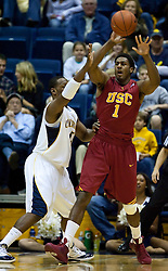 January 9, 2010; Berkeley, CA, USA;  Southern California Trojans forward Alex Stepheson (1) is guarded by California Golden Bears center Markhuri Sanders-Frison (45) during the first half at the Haas Pavilion.  California defeated USC 67-59.