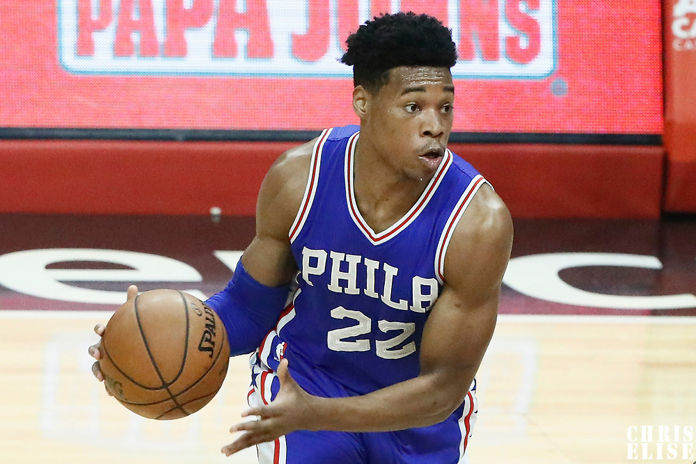 11 March 2017: Philadelphia 76ers forward Richaun Holmes (22) looks to pass the ball during the LA Clippers 112-100 victory over the Philadelphia Sixers, at the Staples Center, Los Angeles, California, USA.