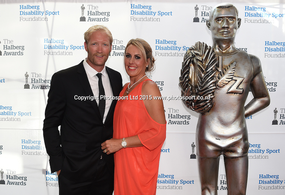 Eric Murray and wife Jackie pose for a picture on the red carpet at the 52nd Halberg Awards. Halberg Disability Sport Foundation. Vector Arena, Auckland, New Zealand. Wednesday 11 February 2015. Copyright Photo: Andrew Cornaga / www.photosport.co.nz