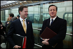 Britain's Prime Minister David Cameron with the Deputy Prime Minster Nick Clegg at St Pancras Station, London, January, 2012 . Photo By Andrew Parsons/i-Images