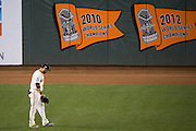 San Francisco Giants left fielder Gregor Blanco (7) wanders around left field during Game 4 of the NLDS against the Chicago Cubs at AT&T Park in San Francisco, Calif., on October 11, 2016. (Stan Olszewski/Special to S.F. Examiner)