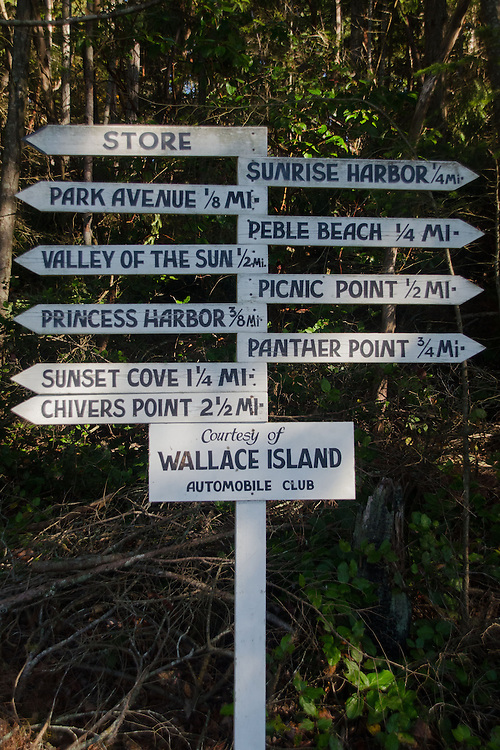 Wallace Island Trail Sign, Wallace Island, Gulf Islands National Park Reserve, British Columbia, Canada
