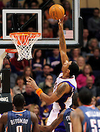 Feb. 4, 2012; Phoenix, AZ, USA; Phoenix Suns forward Channing Frye (8) puts up a shot against the Charlotte Bobcats during the first half at the US Airways Center. The Suns defeated the Bobcats 95 - 89. Mandatory Credit: Jennifer Stewart-US PRESSWIRE.