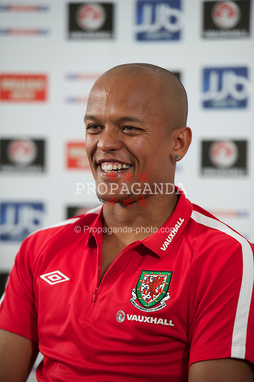 NEWTOWN MOUNT KENNEDY, REPUBLIC OF IRELAND - Tuesday, May 24, 2011: Wales' new captain Robert Earnshaw during a press conference ahead of the Carling Nations Cup match against Scotland. (Photo by David Rawcliffe/Propaganda)