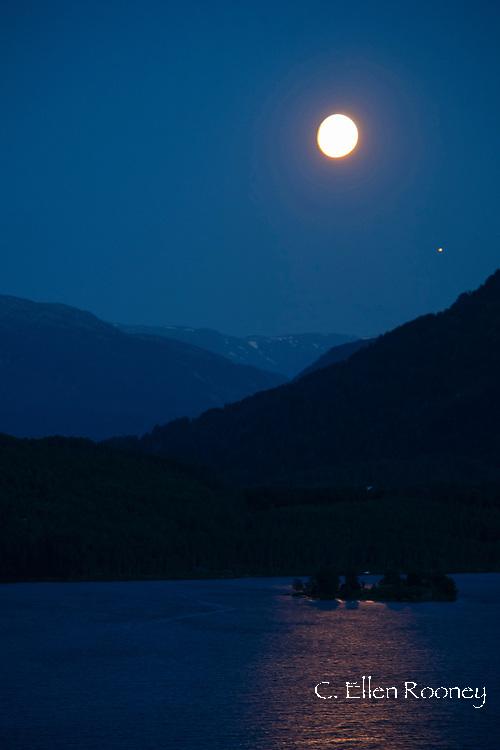The moon shining on Hafslovatnet, Vestlandet, Norway