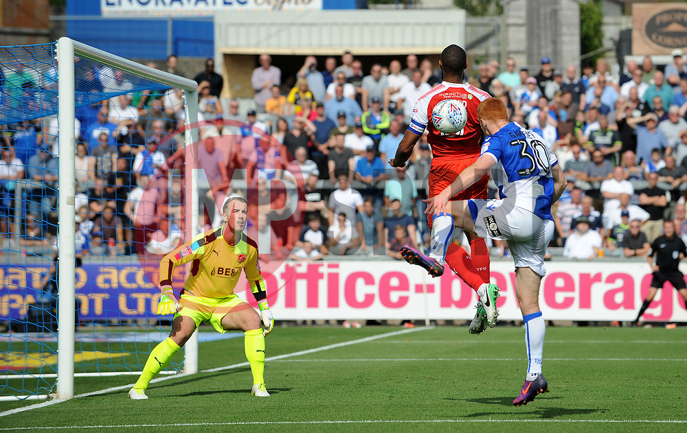 Rory Gaffney of Bristol Rovers gets in behind the Fleetwood defence - Mandatory by-line: Neil Brookman/JMP - 26/08/2017 - FOOTBALL - Memorial Stadium - Bristol, England - Bristol Rovers v Fleetwood Town - Sky Bet League One