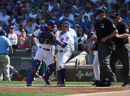 September 15, 2017 - Chicago, IL, USA - Chicago Cubs catcher Willson Contreras, left, is restrained by teammate Javier Baez in the fifth inning after Contreras and Cubs starting pitcher John Lackey were ejected against the St. Louis Cardinals at Wrigley Field in Chicago on Friday, Sept. 15, 2017. The Cubs won, 8-2. (Credit Image: © Terrence Antonio James/TNS via ZUMA Wire)