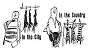In the City. In the Country. (Butcher in the city hangs rabbits, while in the country a farmer hangs cats)