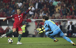 October 10, 2017 - Lisbon, Portugal - Portugal's forward Cristiano Ronaldo (L) vies with Switzerland's goalkeeper Yann Sommer during the FIFA 2018 World Cup Qualifier match between Portugal and Switzerland at the Luz Stadium on October 10, 2017 in Lisbon, Portugal. (Credit Image: © Carlos Costa/NurPhoto via ZUMA Press)