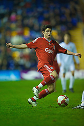 WARRINGTON, ENGLAND - Thursday, March 12, 2009: Liverpool's Daniel Pacheco in action against Manchester United during the FA Premiership Reserves League (Northern Division) match at the Halliwell Jones Stadium. (Photo by David Rawcliffe/Propaganda)