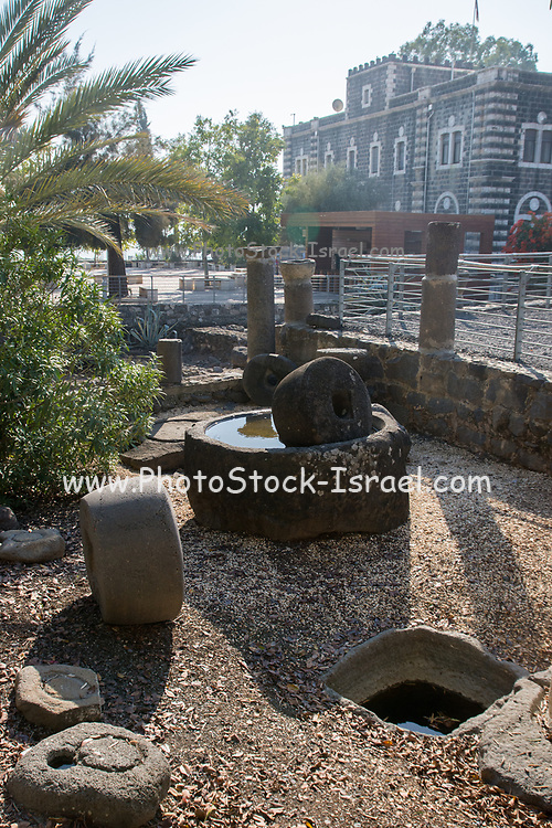 Israel, Sea of Galilee, An ancient olive oil press found in the excavations at Capernaum