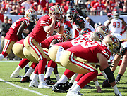 Nov 25, 2018; Tampa, FL, USA; San Francisco 49ers quarterback Nick Mullens (4) calls a play at the line of scrimmage against the Tampa Bay Buccaneers at Raymond James Stadium. The Buccaneers beat the 49ers 27-9. (Steve Jacobson/Image of Sport)
