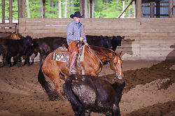 May 21, 2017 - Minshall Farm Cutting 4, held at Minshall Farms, Hillsburgh Ontario. The event was put on by the Ontario Cutting Horse Association. Riding in the Open Class is Troy Donaldson on Xrey owned by Rosalee Munch.