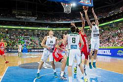 Luksa Andric #5 of Croatia vs Linas Kleiza #11 of Lithuania during basketball match between National teams of Lithuania and Croatia in Semifinals at Day 17 of Eurobasket 2013 on September 20, 2013 in Arena Stozice, Ljubljana, Slovenia. (Photo by Vid Ponikvar / Sportida.com)
