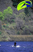 Kitesurfing on the Columbia River. Columbia River Gorge, Hood River Gorge, Oregon.