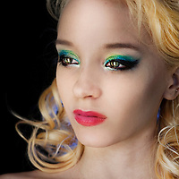 portrait of blond girl wearing stylish make-up