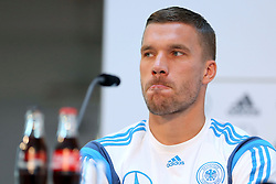 08.06.2015, Mercedes Benz Zenter, Koeln, GER, Nationalmannschaft, Pressekonferenz, im Bild Lukas Podolski (Inter Mailand) nachdenklich // during a press conference of the german national football team at the Mercedes Benz Zenter in Koeln, Germany on 2015/06/08. EXPA Pictures © 2015, PhotoCredit: EXPA/ Eibner-Pressefoto/ Schüler<br /> <br /> *****ATTENTION - OUT of GER*****