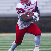 Smyrna Eagles running back WILLIAM KNIGHT (25) picks up extra yardage in the fourth quarter of the 2017 DIAA Division I state championship game between the Smyrna Eagles and Middletown Cavaliers Saturday, Dec. 02, 2017 at Delaware Stadium in Newark, DE.