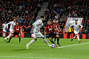 Jesse Lingard (14) of Manchester United passes the ball in to the box for Chris Smalling (12) of Manchester United to score a goal to give a 0-1 lead to the away team during the Premier League match between Bournemouth and Manchester United at the Vitality Stadium, Bournemouth, England on 18 April 2018. Picture by Graham Hunt.