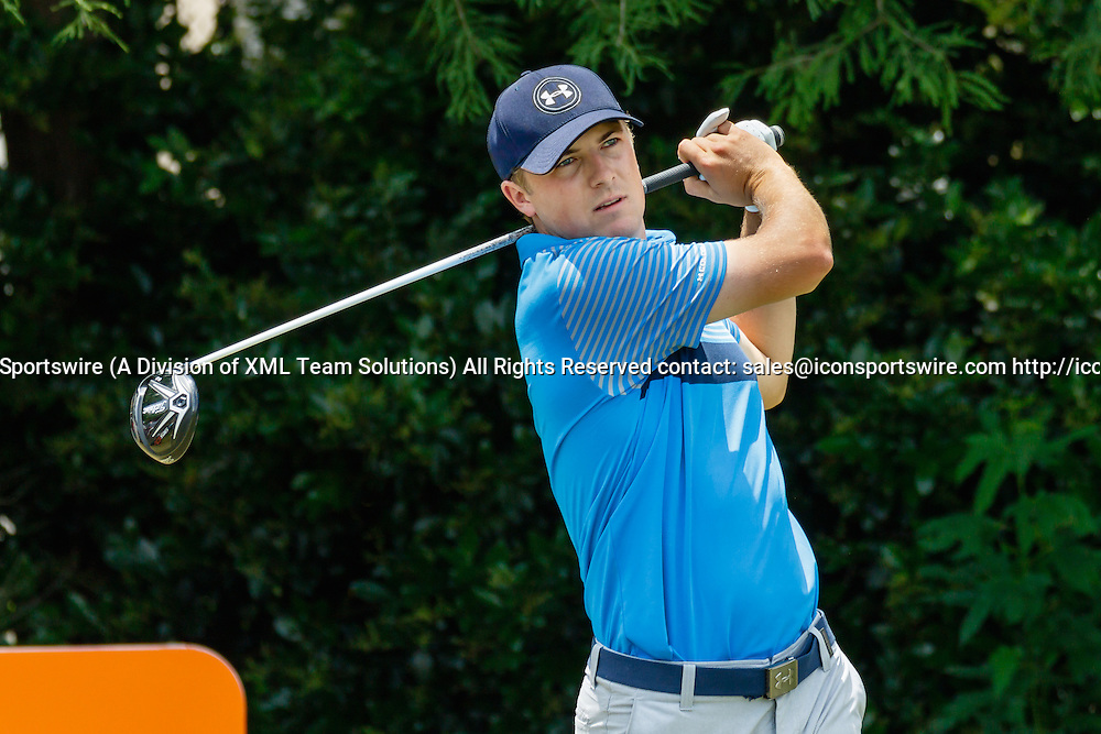 28 MAY 2015: Jordan Spieth hits his tee shot on #4 during the first round of the AT&T Byron Nelson Championship in Irving, TX.