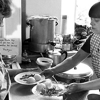 Miners wives and members of womens support groups serving food to striking miners families during the 1984-85 strike, Cortonwood Miners Welfare. 23 july 1984...© Martin Jenkinson <br />