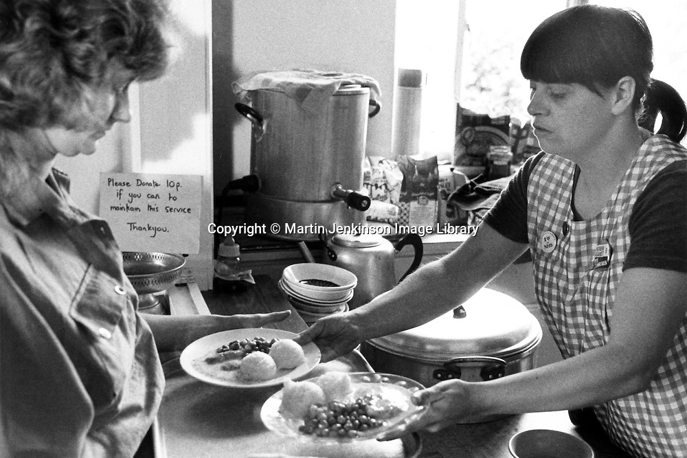 Miners wives and members of womens support groups serving food to striking miners families during the 1984-85 strike, Cortonwood Miners Welfare. 23 july 1984...&copy; Martin Jenkinson <br />