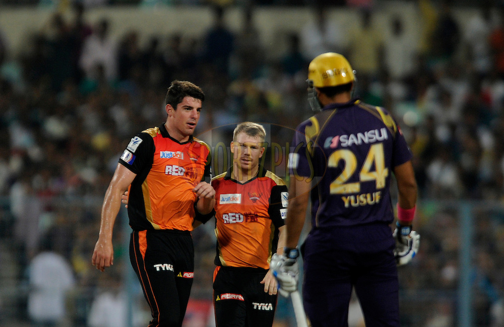 Moises Henriques of Sunrisers Hyderabad celebrates the wicket of Ryan Ten Doeschate of Kolkata Knight Riders during match 38 of the Pepsi IPL 2015 (Indian Premier League) between The Kolkata Knight Riders and The Sunrisers Hyderabad held at Eden Gardens Stadium in Kolkata, India on the 4th May 2015.<br /> <br /> Photo by:  Pal Pillai / SPORTZPICS / IPL