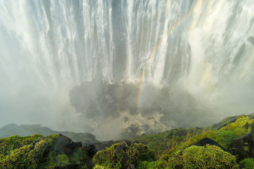 LIVINGSTONE, ZAMBIA - Victoria Falls Waterfall with rainbow