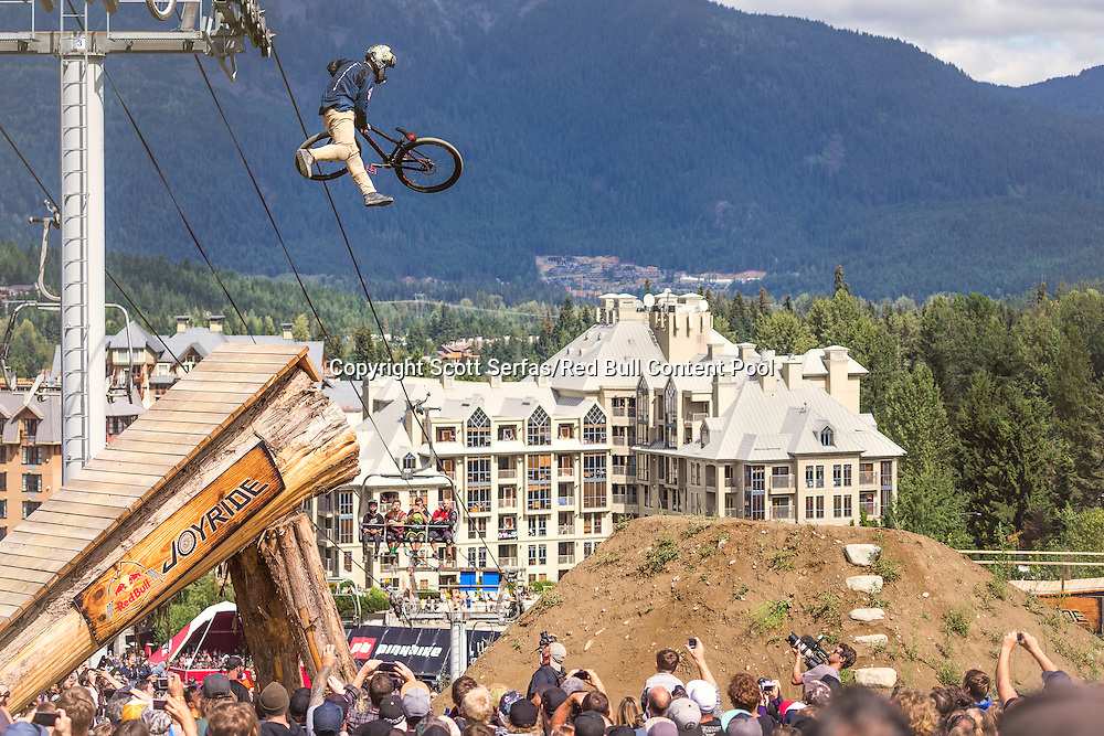 Nicholi Rogatkin performs a tailwhip to barspin during the finals of the Red Bull Joyride event in Whistler, Canada on August 16th, 2015. // Scott Serfas/Red Bull Content Pool // P-20150817-00016 // Usage for editorial use only // Please go to www.redbullcontentpool.com for further information. //
