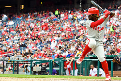 May 6, 2018 - Washington, DC, U.S. - WASHINGTON, DC - MAY 06:  Philadelphia Phillies center fielder Odubel Herrera (37) at bat during the game between the Philadelphia Phillies  and the Washington Nationals on May 6, 2018, at Nationals Park, in Washington D.C.  The Washington Nationals defeated the Philadelphia Phillies, 5-4.  (Photo by Mark Goldman/Icon Sportswire) (Credit Image: © Mark Goldman/Icon SMI via ZUMA Press)