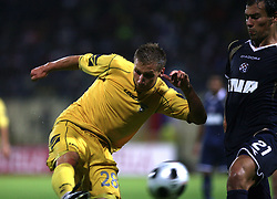 Dzengis Cavusevic of Domzale and Ivica Urdoljak of Dinamo at 1st football game of 2nd Qualifying Round for UEFA Champions league between NK Domzale vs HNK Dinamo Zagreb, on July 30, 2008, in Domzale, Slovenia. Dinamo won 3:0. (Photo by Vid Ponikvar / Sportal Images)