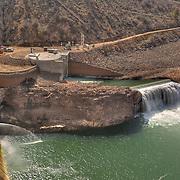 Overhead view of Arrowrock Dam hydroelectric project
