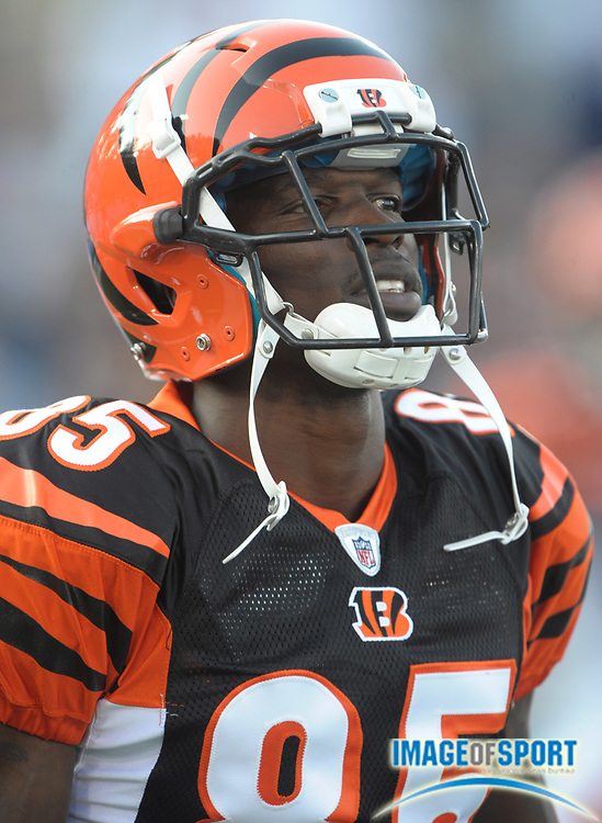 Aug 8, 2010; Canton, OH, USA; Cincinnati Bengals receiver Chad Ochocinco (85) during the preseason game against the Dallas Cowboys at Fawcett Stadium. Photo by Image of Sport